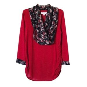 ELLE | Red Top With Matching Scarf